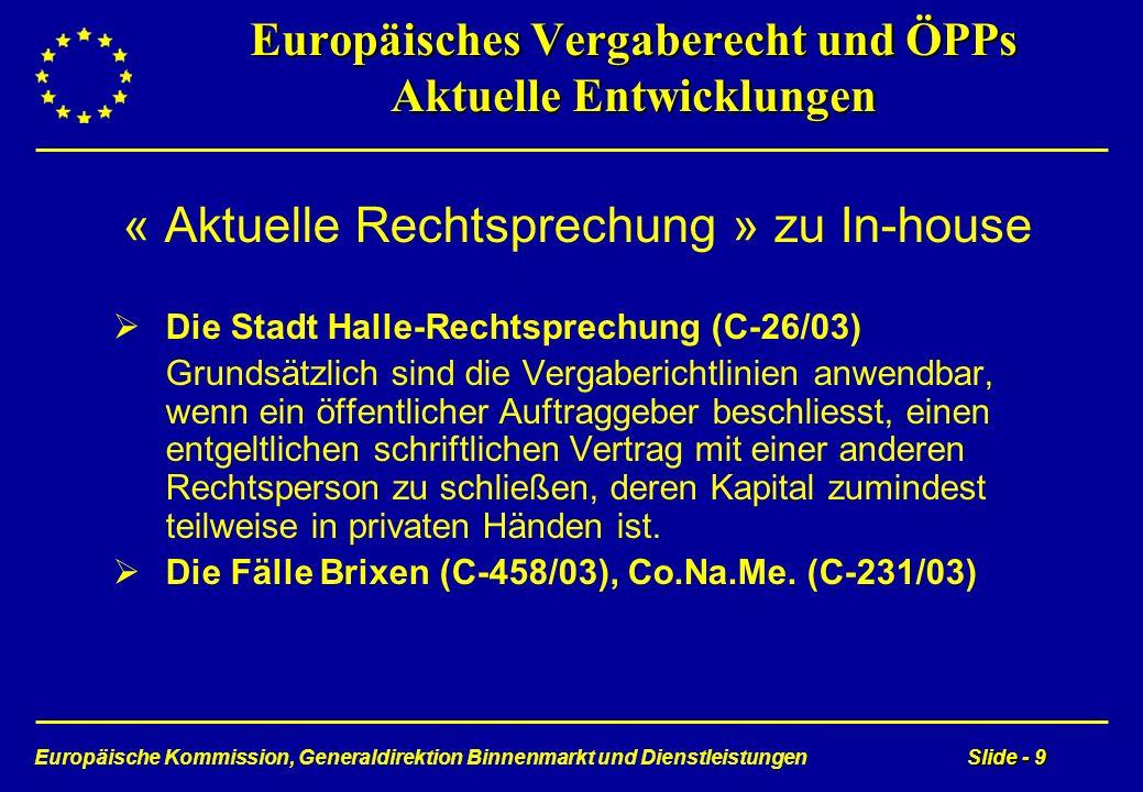 Europäische Kommission, Generaldirektion Binnenmarkt und DienstleistungenSlide - 9 Europäisches Vergaberecht und ÖPPs Aktuelle Entwicklungen « Aktuell