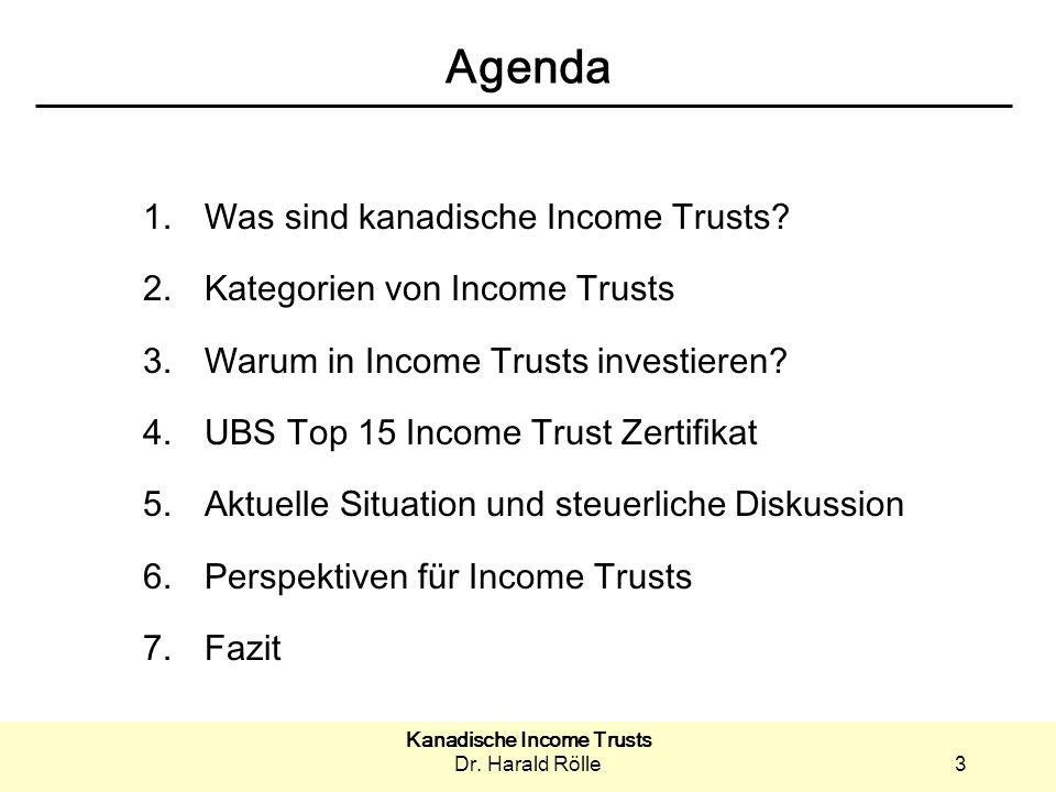 Kanadische Income Trusts Dr.Harald Rölle14 3. Warum in Income Trusts investieren.