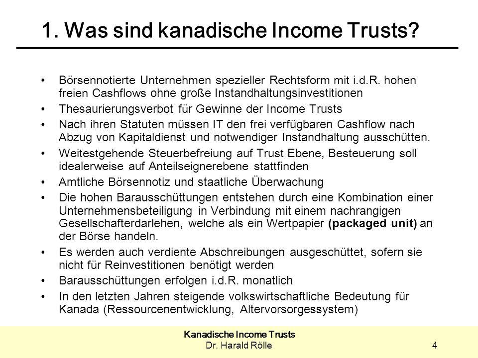 Kanadische Income Trusts Dr.Harald Rölle15 3. Warum in Income Trusts investieren.