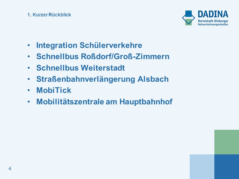 4 1. Kurzer Rückblick Integration Schülerverkehre Schnellbus Roßdorf/Groß-Zimmern Schnellbus Weiterstadt Straßenbahnverlängerung Alsbach MobiTick Mobi