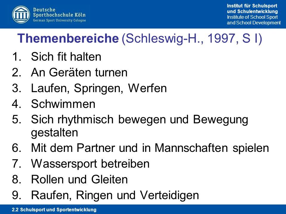 Institut für Schulsport und Schulentwicklung Institute of School Sport and School Development Themenbereiche (Schleswig-H., 1997, S I) 1.Sich fit halt