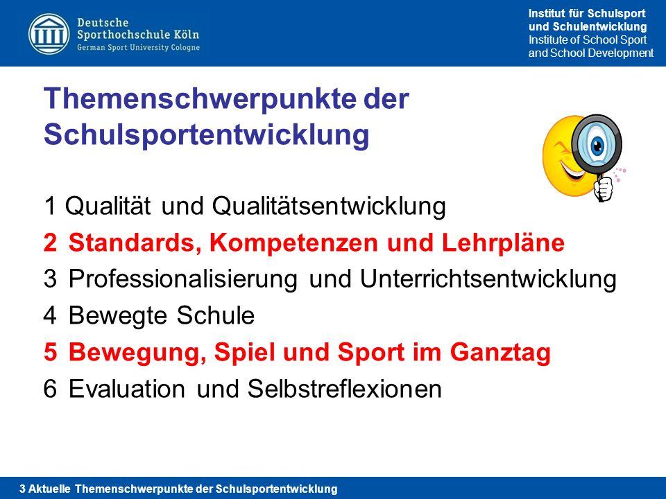Institut für Schulsport und Schulentwicklung Institute of School Sport and School Development Themenschwerpunkte der Schulsportentwicklung Qualität un
