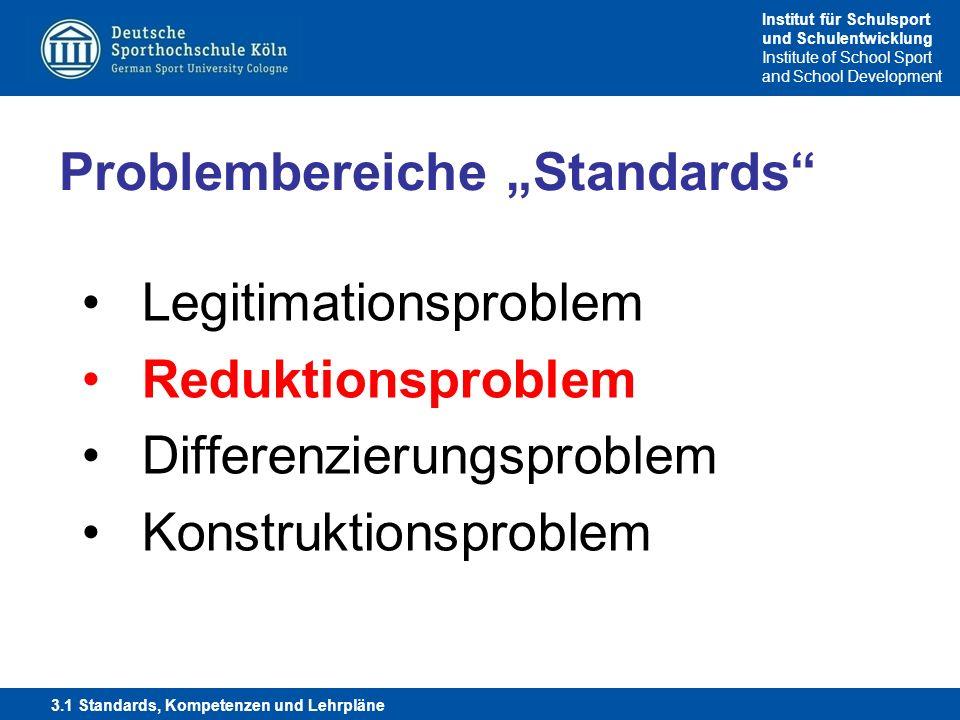 Institut für Schulsport und Schulentwicklung Institute of School Sport and School Development Problembereiche Standards Legitimationsproblem Reduktion