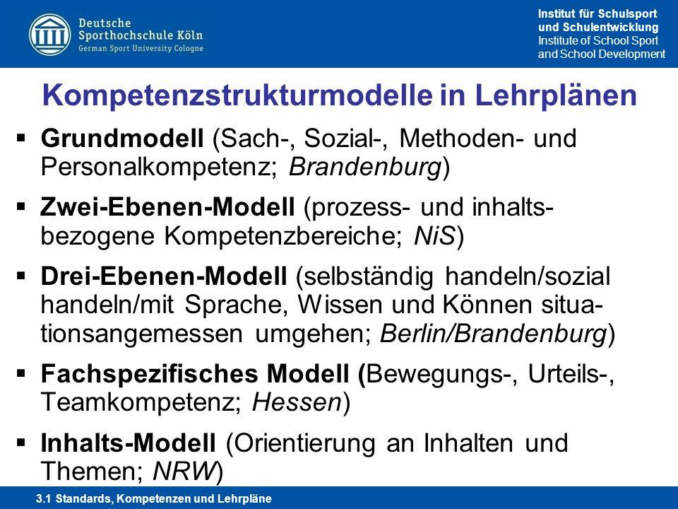 Institut für Schulsport und Schulentwicklung Institute of School Sport and School Development Kompetenzstrukturmodelle in Lehrplänen Grundmodell (Sach