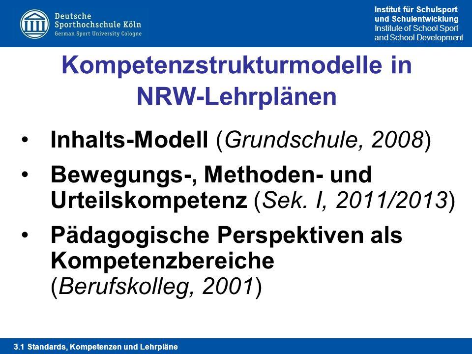 Institut für Schulsport und Schulentwicklung Institute of School Sport and School Development Kompetenzstrukturmodelle in NRW-Lehrplänen Inhalts-Model