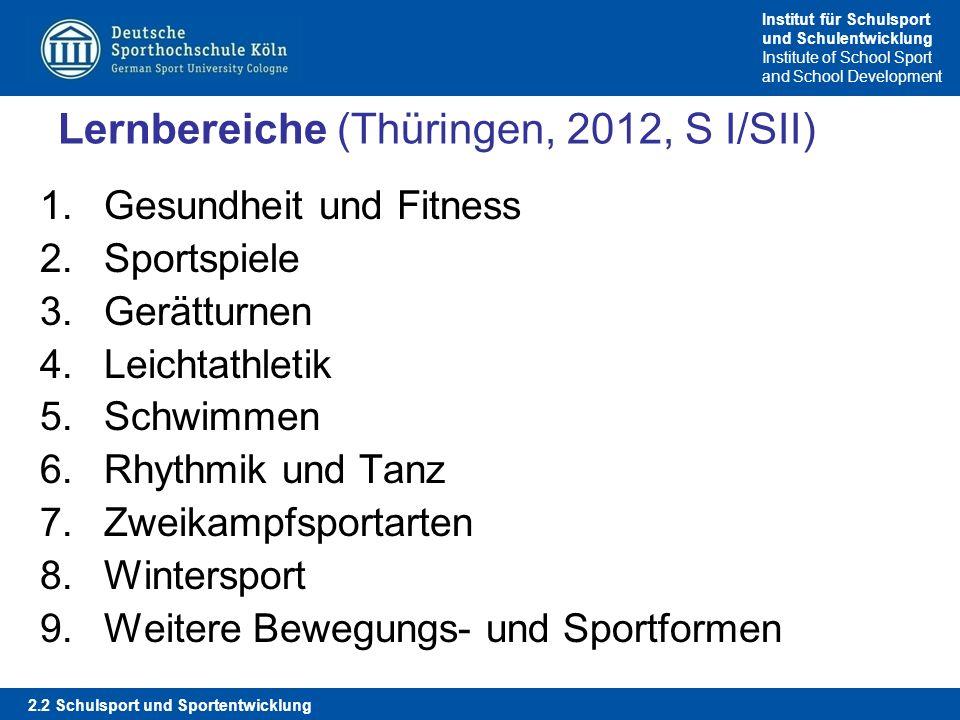 Institut für Schulsport und Schulentwicklung Institute of School Sport and School Development Lernbereiche (Thüringen, 2012, S I/SII) 1.Gesundheit und