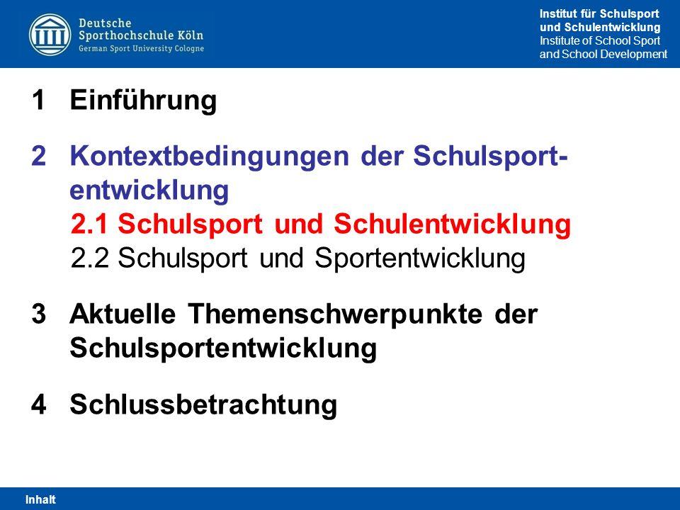 Institut für Schulsport und Schulentwicklung Institute of School Sport and School Development Lernbereiche (Thüringen, 2012, S I/SII) 1.Gesundheit und Fitness 2.Sportspiele 3.Gerätturnen 4.Leichtathletik 5.Schwimmen 6.Rhythmik und Tanz 7.Zweikampfsportarten 8.Wintersport 9.Weitere Bewegungs- und Sportformen 2.2 Schulsport und Sportentwicklung