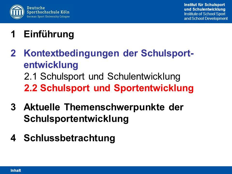 Institut für Schulsport und Schulentwicklung Institute of School Sport and School Development 1Einführung 2Kontextbedingungen der Schulsport- entwickl