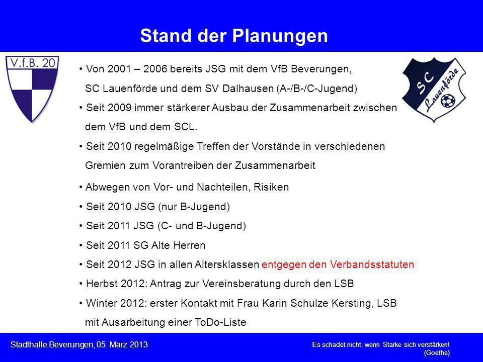 Von 2001 – 2006 bereits JSG mit dem VfB Beverungen, SC Lauenförde und dem SV Dalhausen (A-/B-/C-Jugend) Seit 2009 immer stärkerer Ausbau der Zusammena