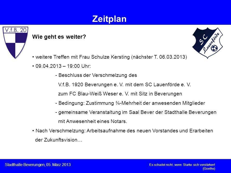 Wie geht es weiter? weitere Treffen mit Frau Schulze Kersting (nächster T. 06.03.2013) 09.04.2013 – 19:00 Uhr: - Beschluss der Verschmelzung des V.f.B