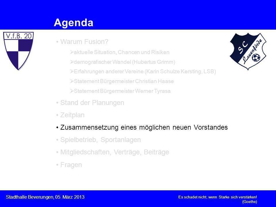Es schadet nicht, wenn Starke sich verstärken! (Goethe) Stadthalle Beverungen, 05. März 2013 Agenda Warum Fusion? aktuelle Situation, Chancen und Risi