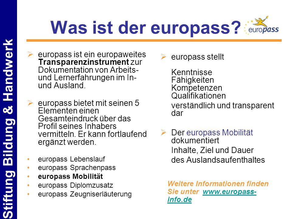 Stiftung Bildung & Handwerk Was ist der europass? europass ist ein europaweites Transparenzinstrument zur Dokumentation von Arbeits- und Lernerfahrung