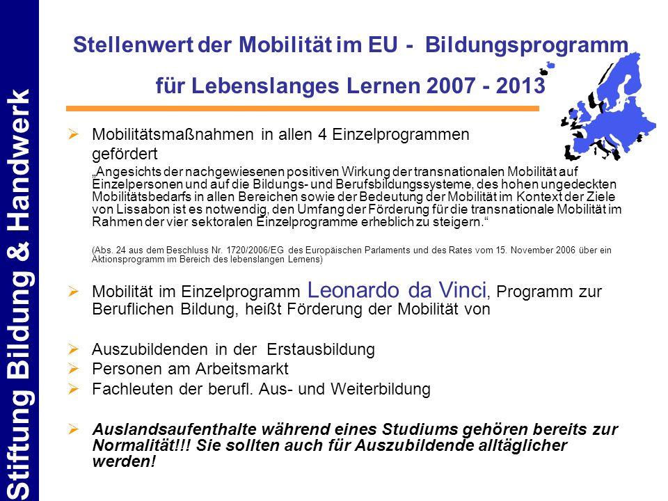 Stiftung Bildung & Handwerk Stellenwert der Mobilität im EU - Bildungsprogramm für Lebenslanges Lernen 2007 - 2013 Mobilitätsmaßnahmen in allen 4 Einz