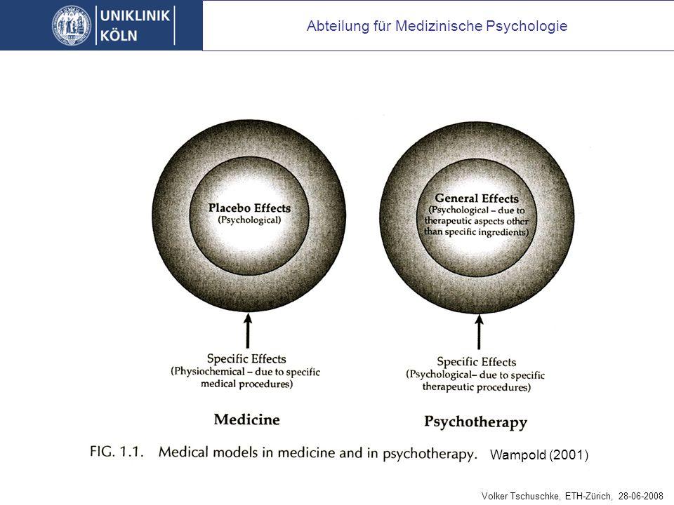 Abteilung für Medizinische Psychologie Wampold (2001) Volker Tschuschke, ETH-Zürich, 28-06-2008