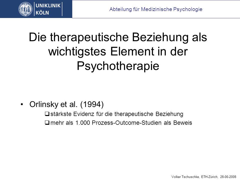 Die therapeutische Beziehung als wichtigstes Element in der Psychotherapie Orlinsky et al.