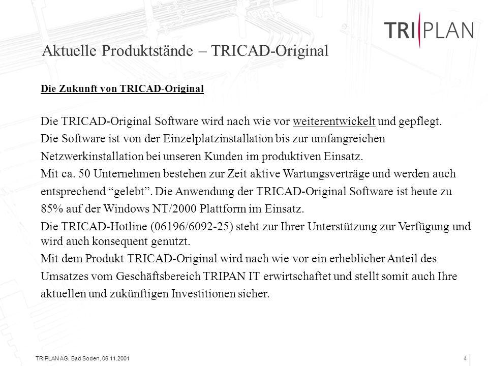 TRIPLAN AG, Bad Soden, 06.11.20014 Aktuelle Produktstände – TRICAD-Original Die Zukunft von TRICAD-Original Die TRICAD-Original Software wird nach wie vor weiterentwickelt und gepflegt.