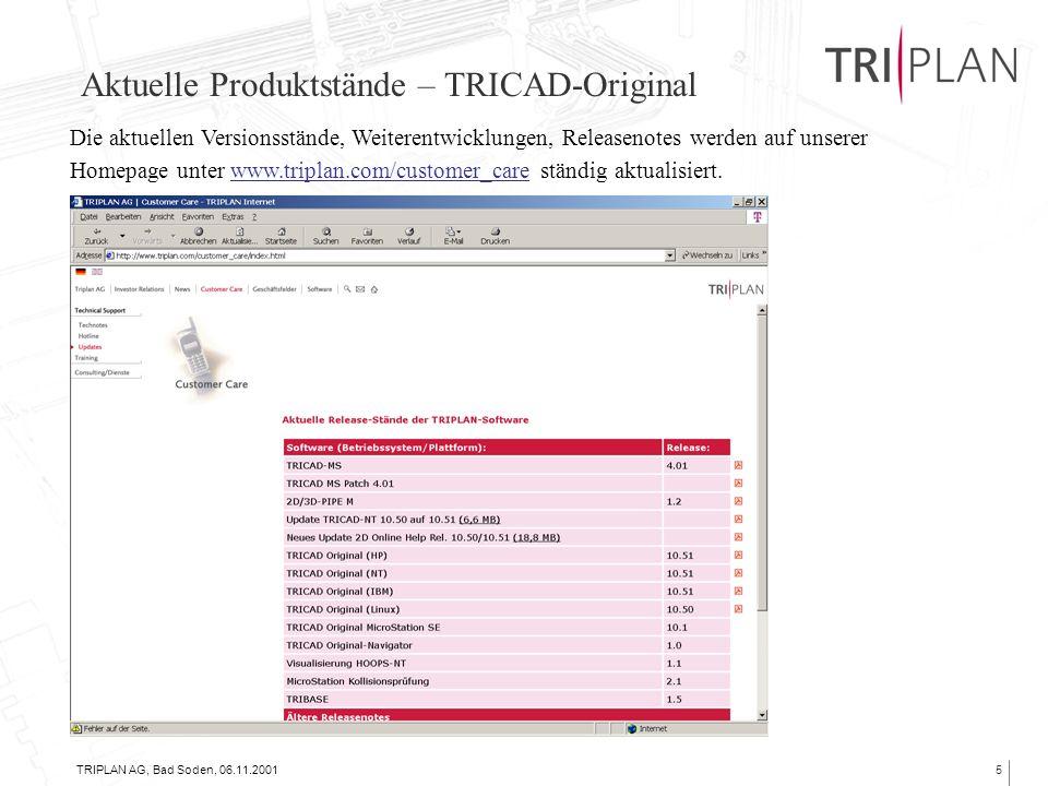 TRIPLAN AG, Bad Soden, 06.11.20016 Aktuelle Produktstände – TRICAD-Original => Die nächste Version ?.