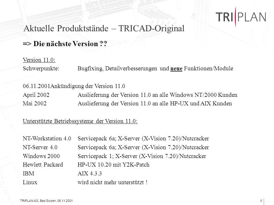 TRIPLAN AG, Bad Soden, 06.11.20016 Aktuelle Produktstände – TRICAD-Original => Die nächste Version .