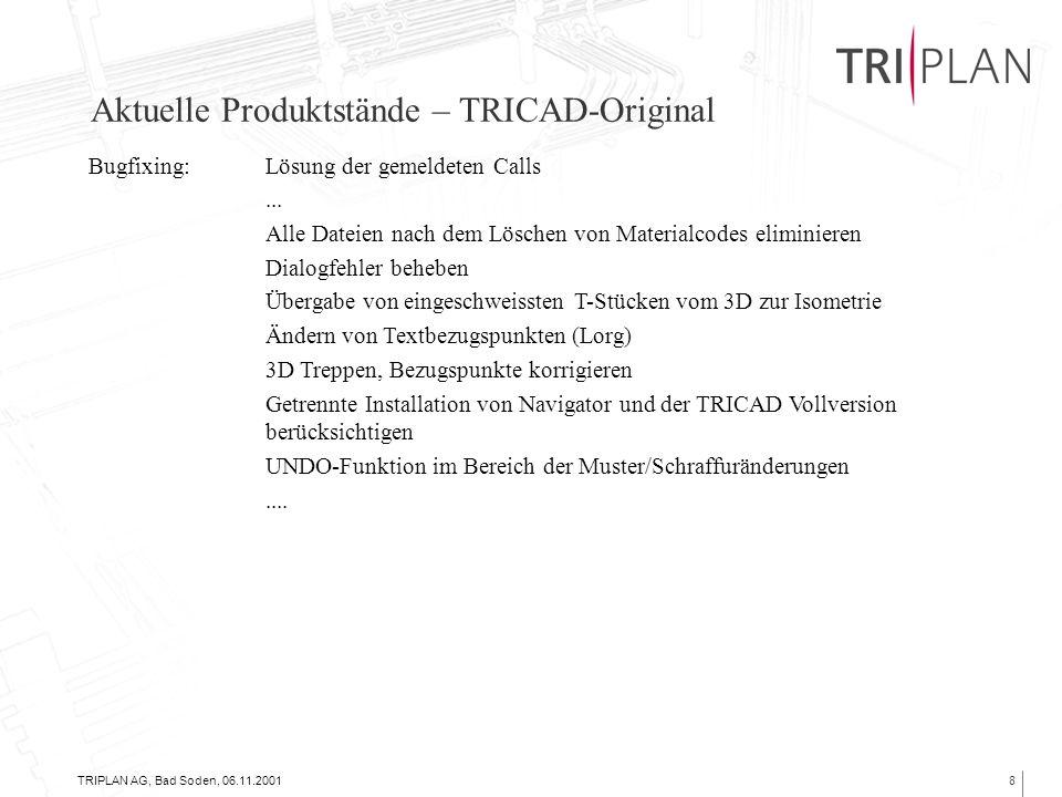 TRIPLAN AG, Bad Soden, 06.11.20018 Aktuelle Produktstände – TRICAD-Original Bugfixing:Lösung der gemeldeten Calls...