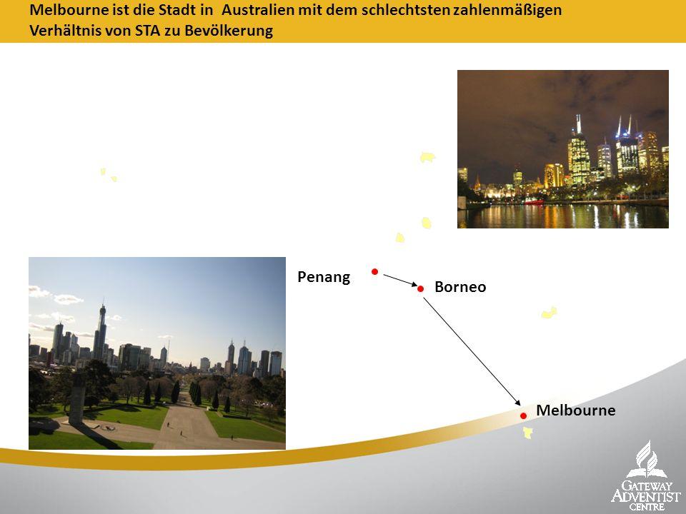 Melbourne Melbourne ist die Stadt in Australien mit dem schlechtsten zahlenmäßigen Verhältnis von STA zu Bevölkerung Penang Borneo
