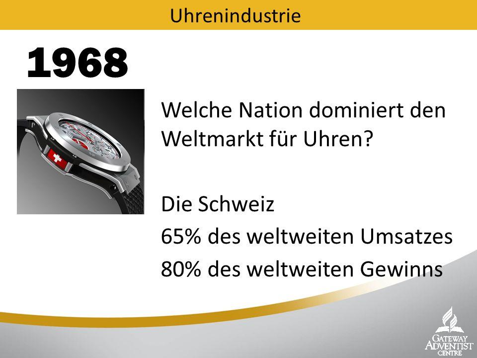 Welche Nation dominiert den Weltmarkt für Uhren? 1980 Uhrenindustrie