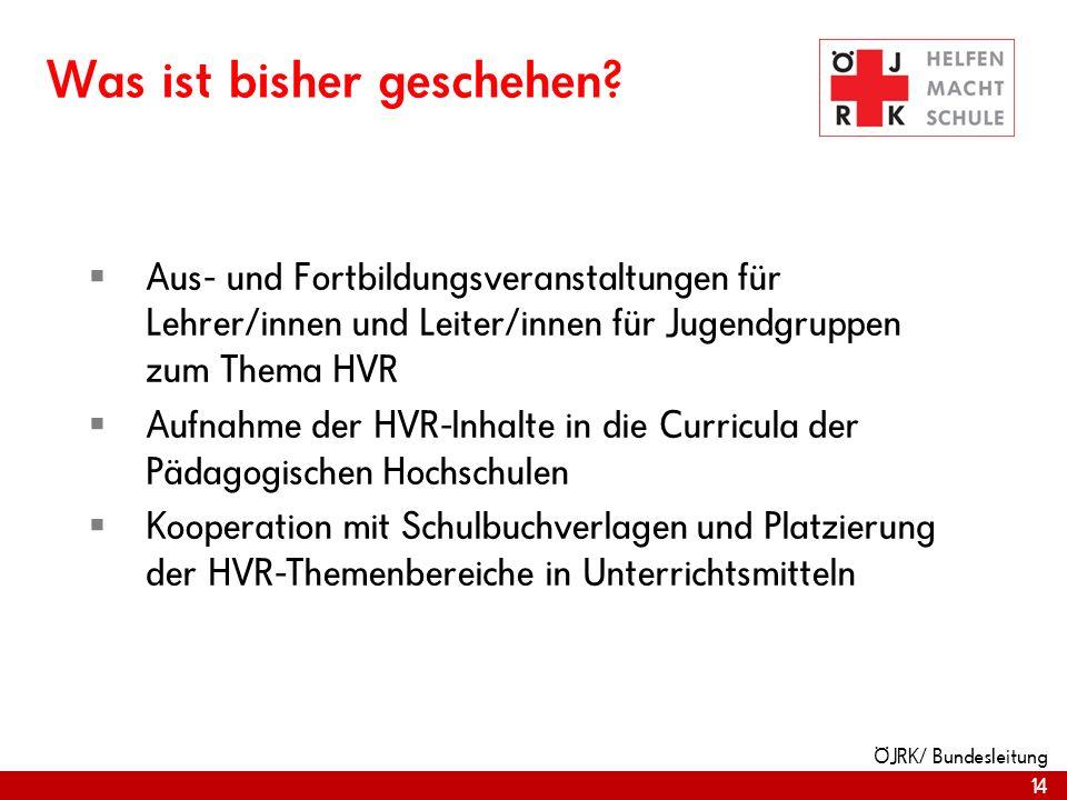 14 ÖJRK/ Bundesleitung Was ist bisher geschehen? Aus- und Fortbildungsveranstaltungen für Lehrer/innen und Leiter/innen für Jugendgruppen zum Thema HV