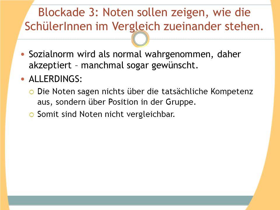 Blockade 3: Noten sollen zeigen, wie die SchülerInnen im Vergleich zueinander stehen. Sozialnorm wird als normal wahrgenommen, daher akzeptiert – manc