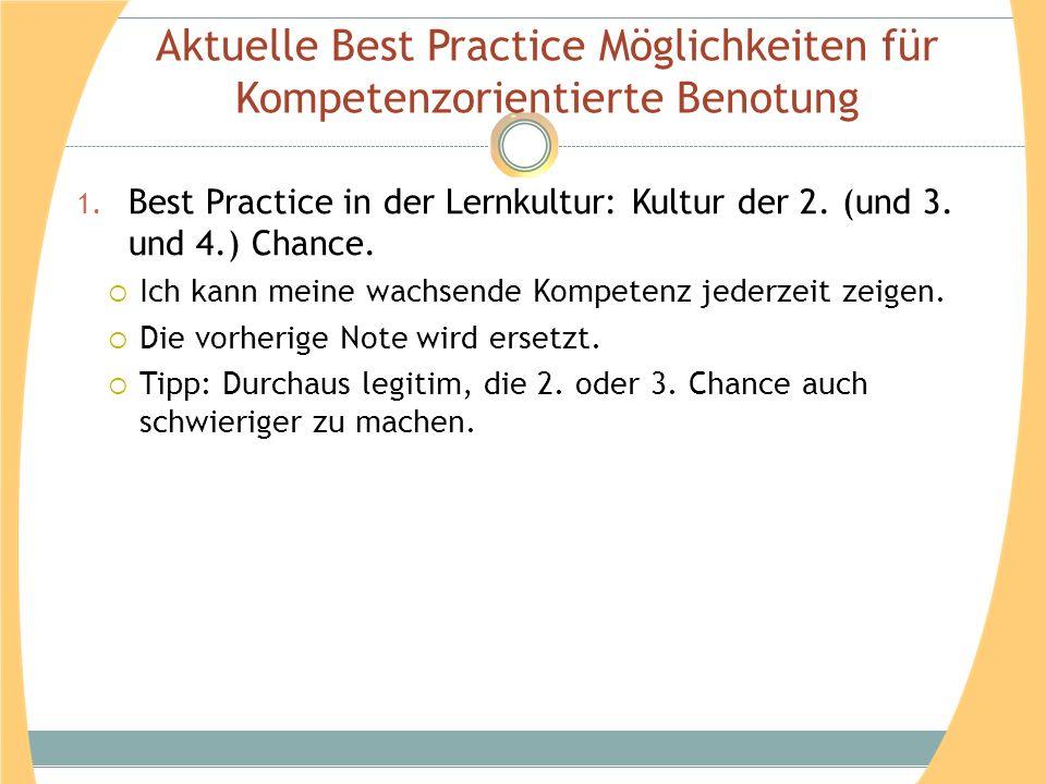 Aktuelle Best Practice Möglichkeiten für Kompetenzorientierte Benotung 1. Best Practice in der Lernkultur: Kultur der 2. (und 3. und 4.) Chance. Ich k