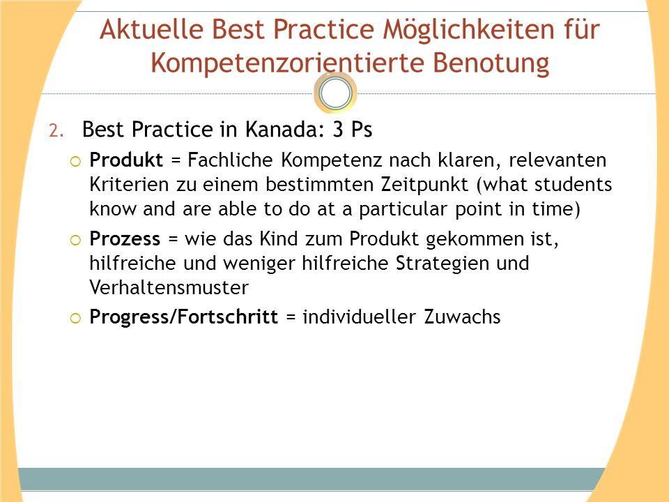 Aktuelle Best Practice Möglichkeiten für Kompetenzorientierte Benotung 2. Best Practice in Kanada: 3 Ps Produkt = Fachliche Kompetenz nach klaren, rel