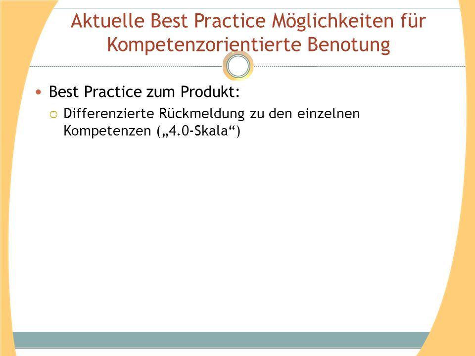 Aktuelle Best Practice Möglichkeiten für Kompetenzorientierte Benotung Best Practice zum Produkt: Differenzierte Rückmeldung zu den einzelnen Kompeten