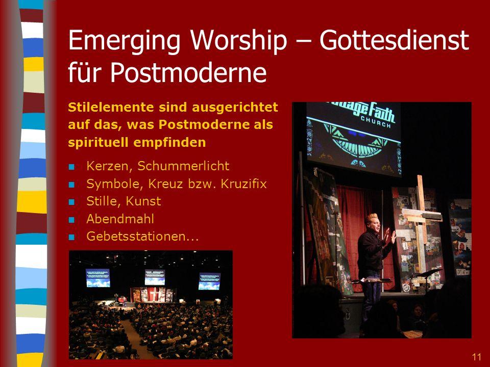 11 Emerging Worship – Gottesdienst für Postmoderne Stilelemente sind ausgerichtet auf das, was Postmoderne als spirituell empfinden Kerzen, Schummerlicht Symbole, Kreuz bzw.