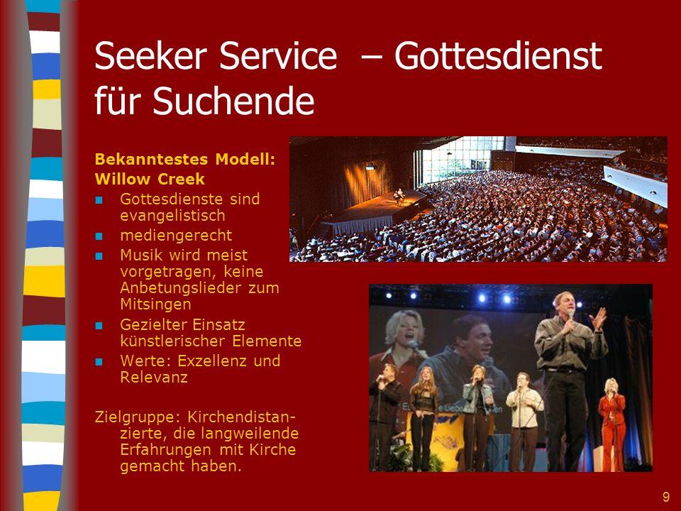 9 Seeker Service – Gottesdienst für Suchende Bekanntestes Modell: Willow Creek Gottesdienste sind evangelistisch mediengerecht Musik wird meist vorget