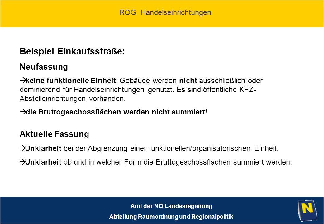ROG Handelseinrichtungen Amt der NÖ Landesregierung Abteilung Raumordnung und Regionalpolitik Beispiel Einkaufsstraße: keine funktionelle Einheit: Gebäude werden nicht ausschließlich oder dominierend für Handelseinrichtungen genutzt.