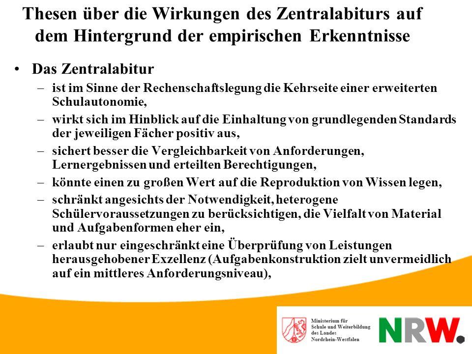 Empirische Erkenntnisse zu dezentralem und zentralem Abitur: Erkenntnisse aus Vergleichsstudien Vergleich Bayern – Niedersachsen 1994 für Deutsch –Zen