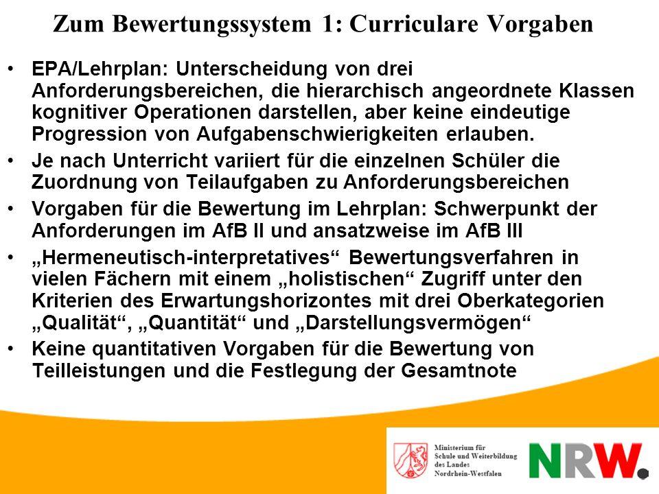 Grundentscheidungen zur Konstruktion von Aufgaben für das Zentralabitur in NRW (2): Charakter der Vorgaben Keine Orientierung an einer Vorgabe von zu