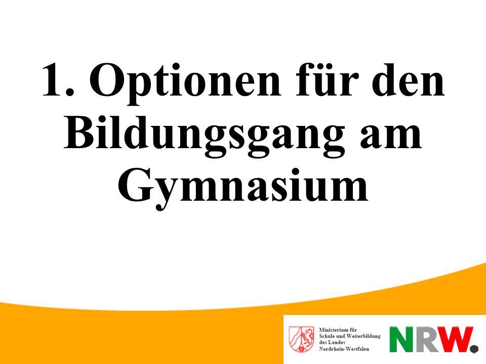 1. Optionen für den Bildungsgang am Gymnasium