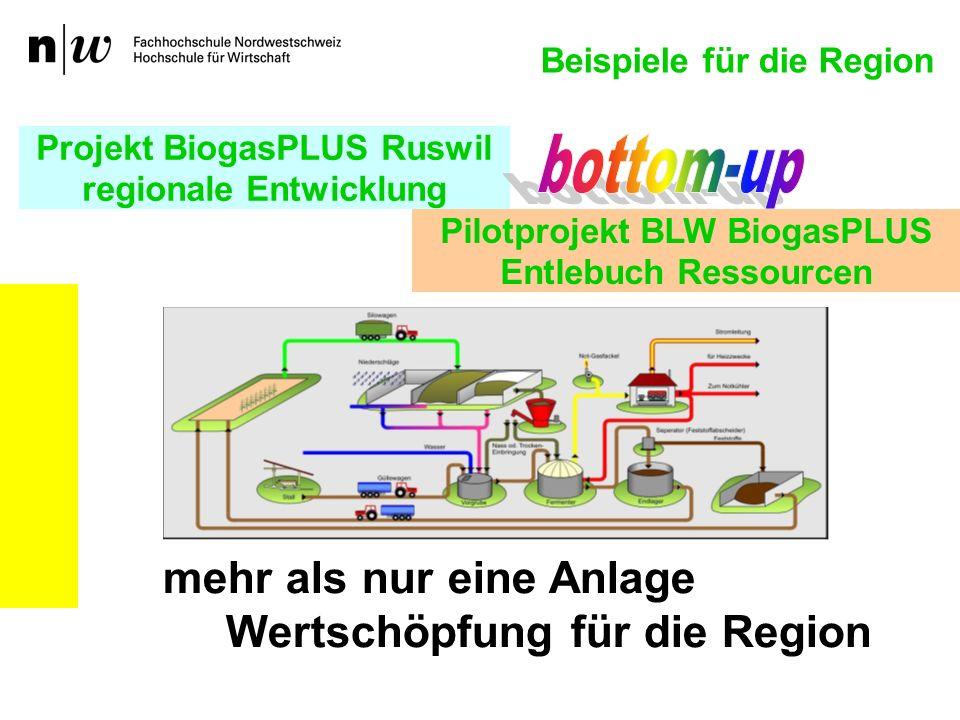 Projekt BiogasPLUS Ruswil regionale Entwicklung mehr als nur eine Anlage Wertschöpfung für die Region Pilotprojekt BLW BiogasPLUS Entlebuch Ressourcen Beispiele für die Region
