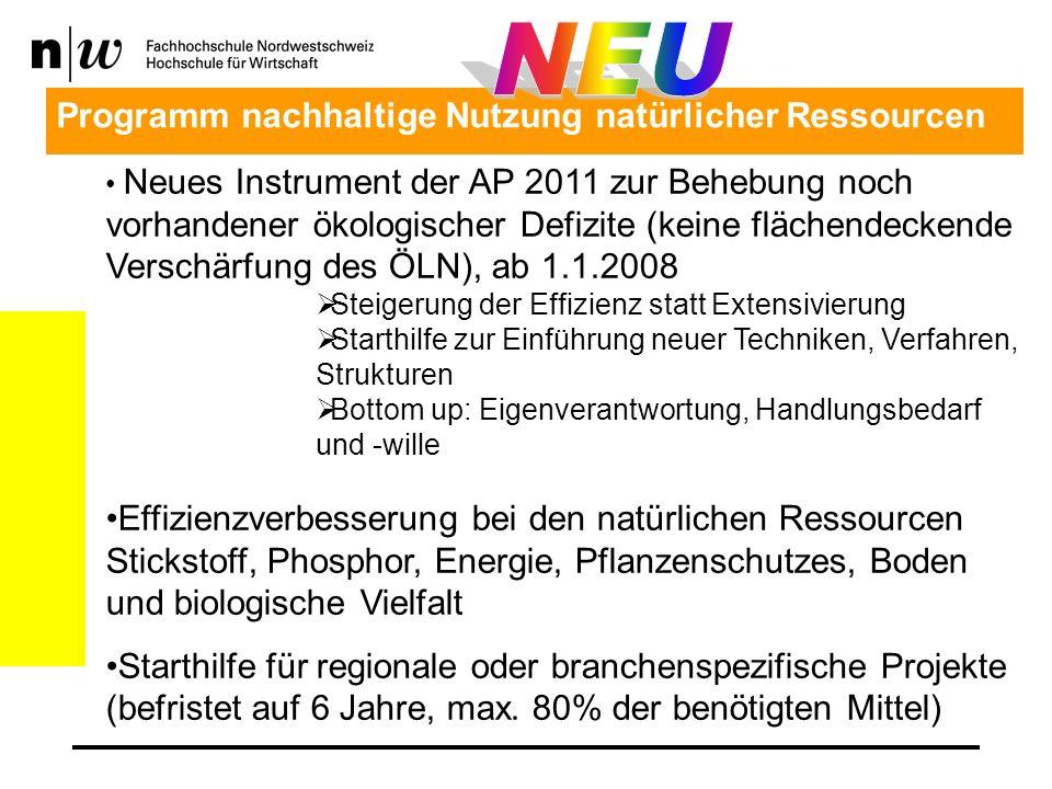 Neues Instrument der AP 2011 zur Behebung noch vorhandener ökologischer Defizite (keine flächendeckende Verschärfung des ÖLN), ab 1.1.2008 Steigerung