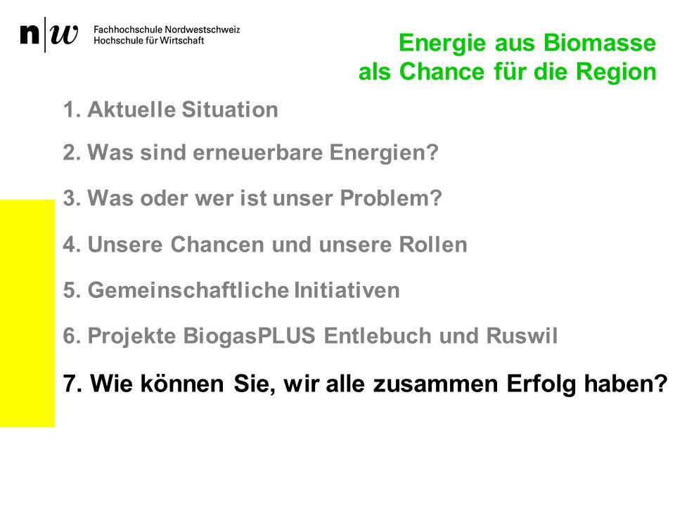 1. Aktuelle Situation 2. Was sind erneuerbare Energien? 3. Was oder wer ist unser Problem? 4. Unsere Chancen und unsere Rollen 5. Gemeinschaftliche In