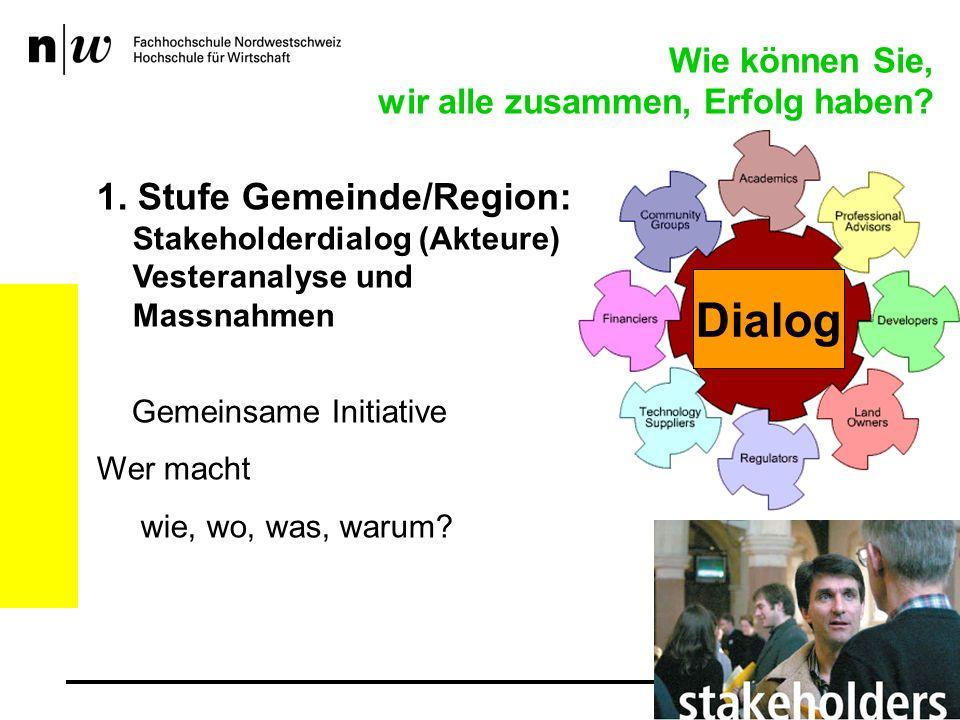 1. Stufe Gemeinde/Region: Stakeholderdialog (Akteure) Vesteranalyse und Massnahmen Gemeinsame Initiative Wer macht wie, wo, was, warum? Wie können Sie