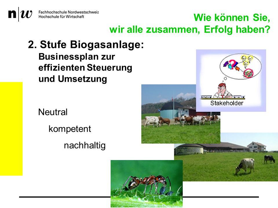 2. Stufe Biogasanlage: Businessplan zur effizienten Steuerung und Umsetzung Neutral kompetent nachhaltig Wie können Sie, wir alle zusammen, Erfolg hab