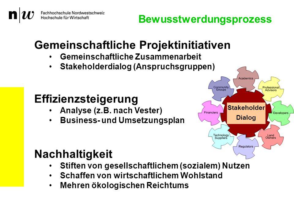 Bewusstwerdungsprozess Effizienzsteigerung Analyse (z.B. nach Vester) Business- und Umsetzungsplan Nachhaltigkeit Stiften von gesellschaftlichem (sozi