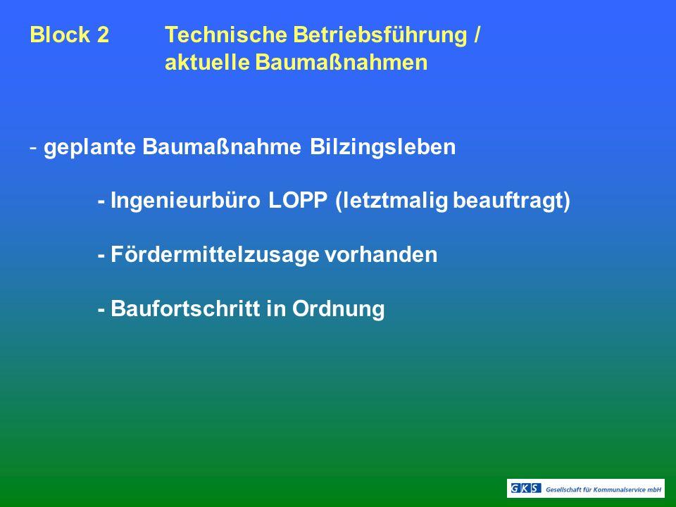Block 2Technische Betriebsführung / aktuelle Baumaßnahmen - geplante Baumaßnahme Bilzingsleben - Ingenieurbüro LOPP (letztmalig beauftragt) - Fördermittelzusage vorhanden - Baufortschritt in Ordnung