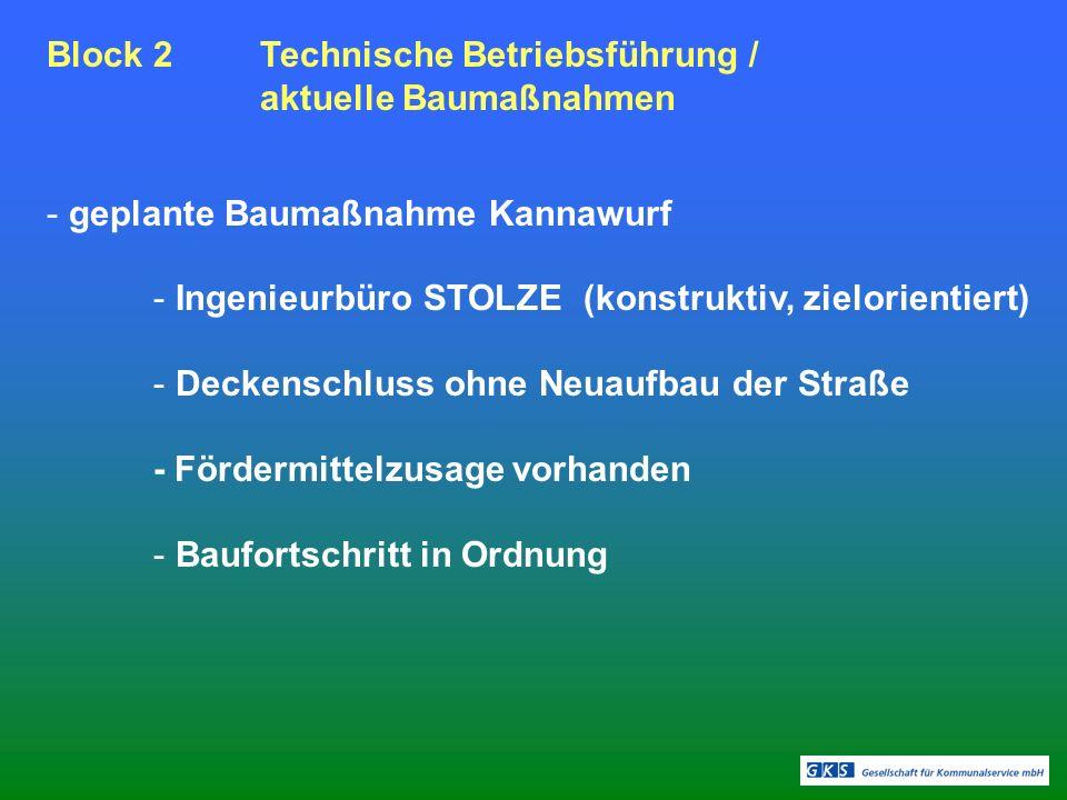Block 2Technische Betriebsführung / aktuelle Baumaßnahmen - geplante Baumaßnahme Kannawurf - Ingenieurbüro STOLZE (konstruktiv, zielorientiert) - Deckenschluss ohne Neuaufbau der Straße - Fördermittelzusage vorhanden - Baufortschritt in Ordnung