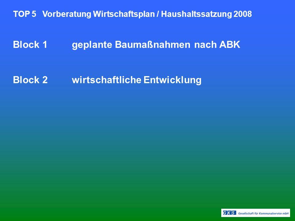 TOP 5Vorberatung Wirtschaftsplan / Haushaltssatzung 2008 Block 1geplante Baumaßnahmen nach ABK Block 2wirtschaftliche Entwicklung