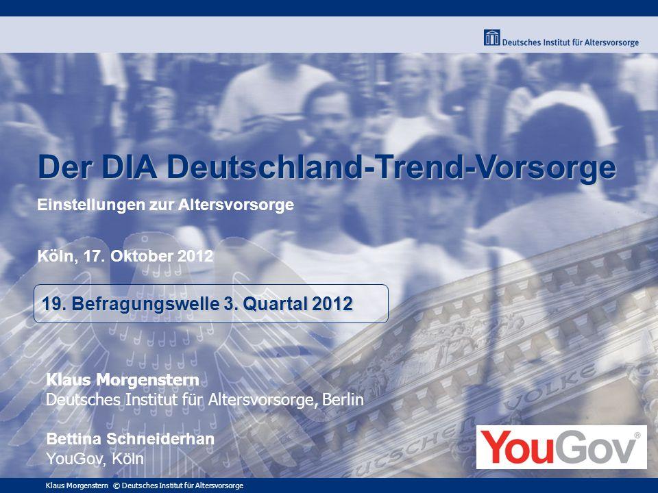 Klaus Morgenstern © Deutsches Institut für Altersvorsorge Der DIA Deutschland-Trend-Vorsorge Der DIA Deutschland-Trend-Vorsorge Einstellungen zur Alte