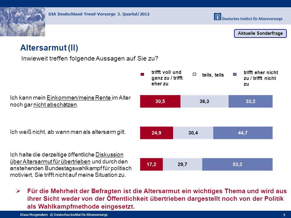 Klaus Morgenstern © Deutsches Institut für Altersvorsorge DIA Deutschland-Trend-Vorsorge 3. Quartal/2012 9 Ich kann mein Einkommen/meine Rente im Alte