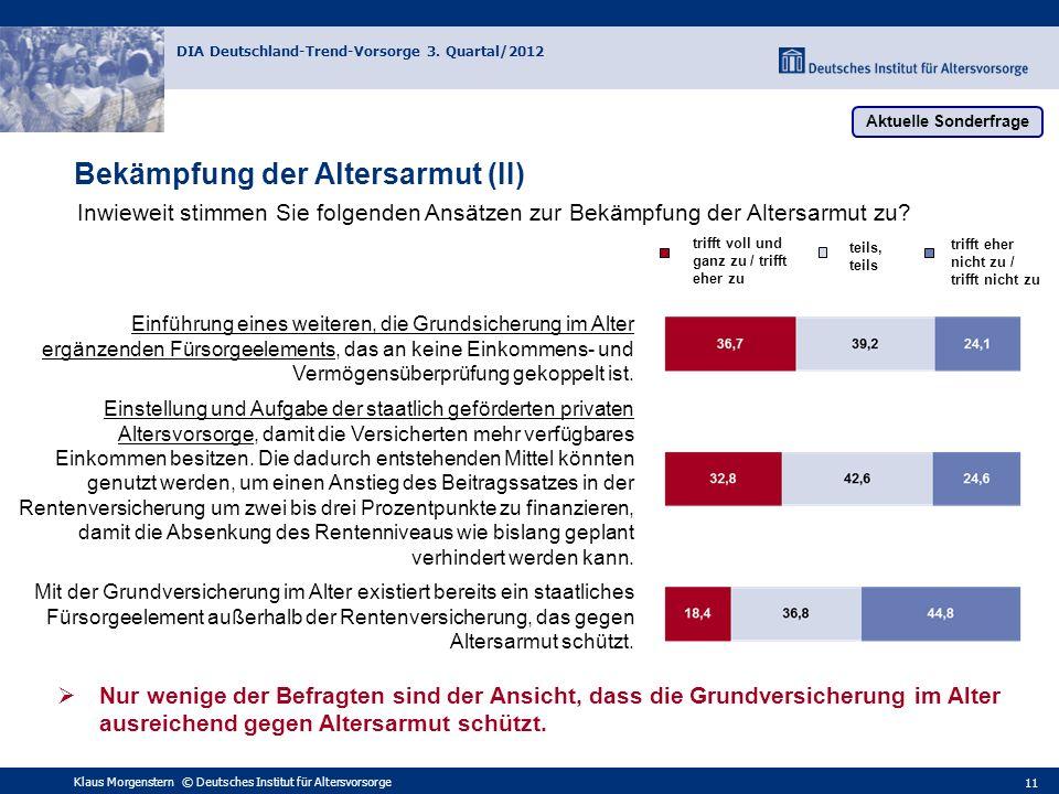 Klaus Morgenstern © Deutsches Institut für Altersvorsorge DIA Deutschland-Trend-Vorsorge 3. Quartal/2012 11 Bekämpfung der Altersarmut (II) Inwieweit