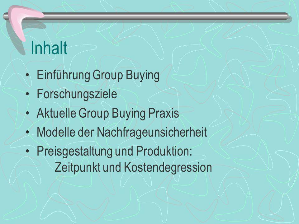 Inhalt Einführung Group Buying Forschungsziele Aktuelle Group Buying Praxis Modelle der Nachfrageunsicherheit Preisgestaltung und Produktion: Zeitpunkt und Kostendegression