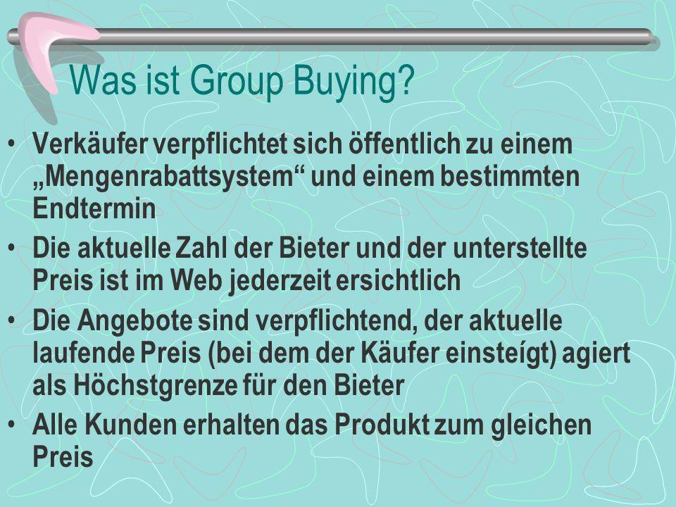 Forschungsziele Was ist der optimale Rabattplan Wie schneidet Group Buying im Vergleich zu einfachen angegebenen Preisen ab.